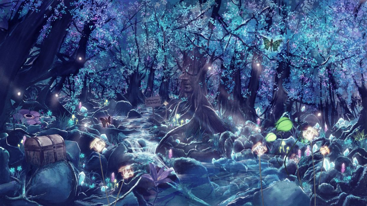 Fantastic world Fantasy Animals magic magical forest neon glow colorful wallpaper | 1920x1080 ...