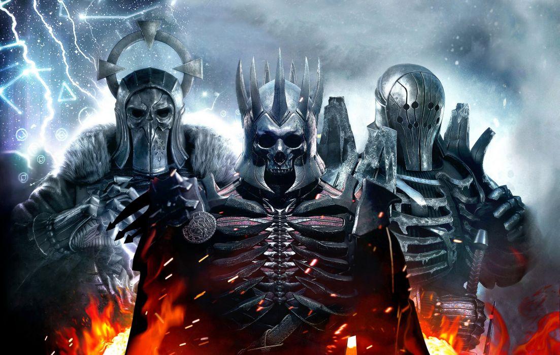 The Witcher 3 Wild Hunt Warrior Monster armor skull fantasy wallpaper