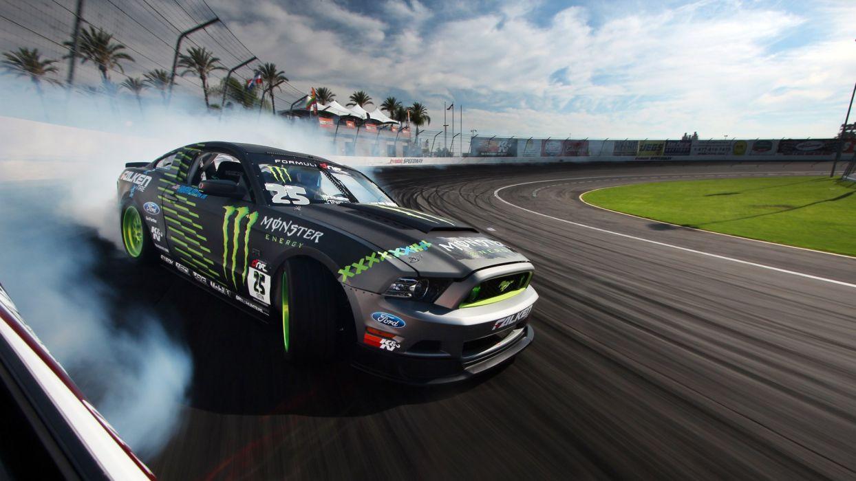 Ford mustang rtr monster energy drift race racing - Drift car wallpaper ...