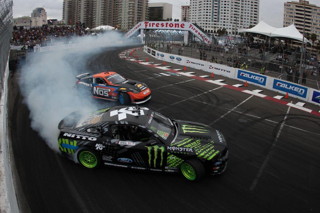 Ford Mustang RTR Monster Energy drift race racing wallpaper