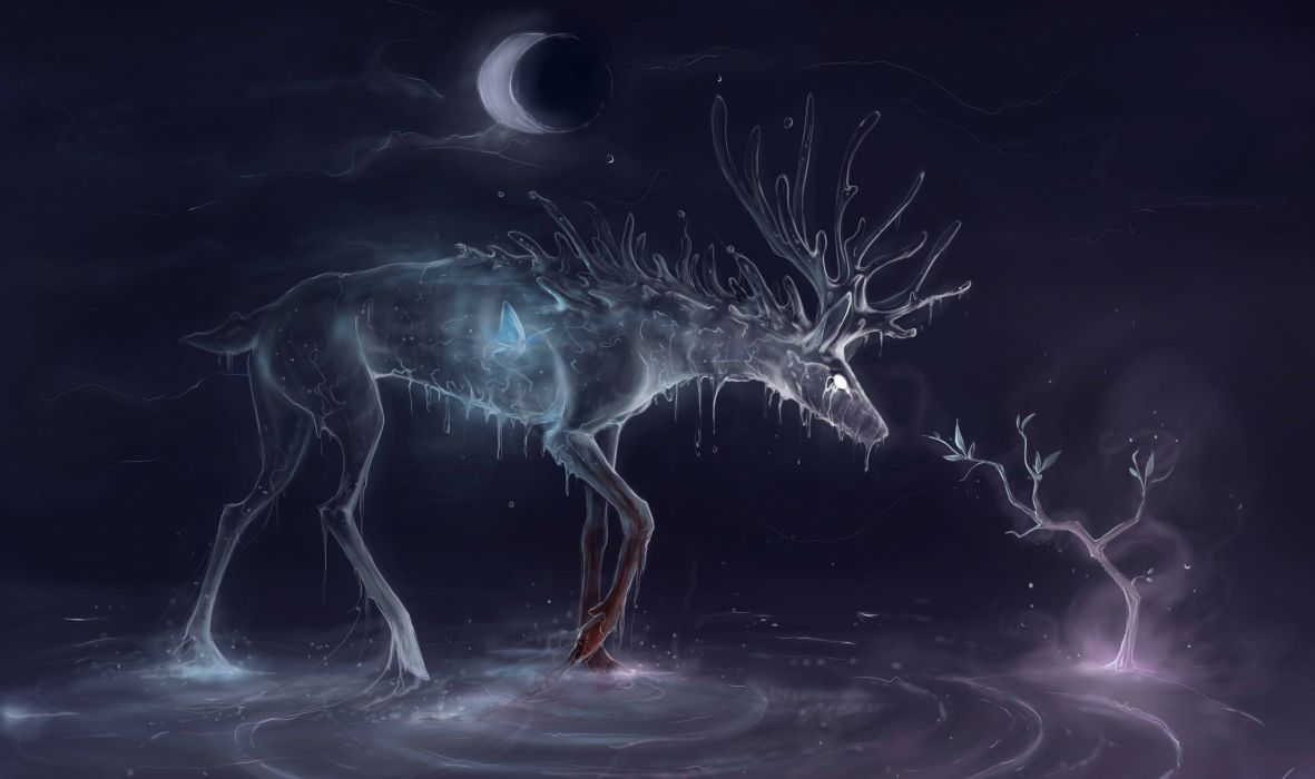 Animal Artistic Moon 3d Winter Fantasy Wallpaper 3000x1778
