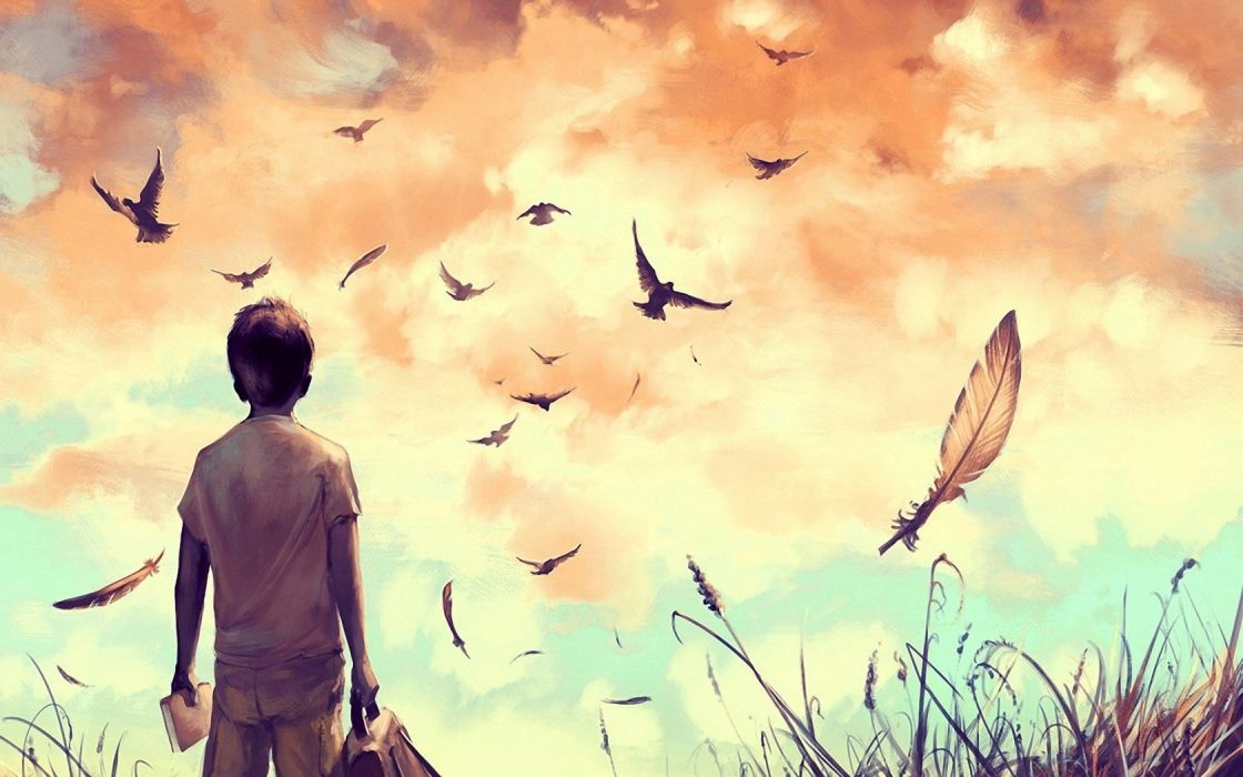 Artistic - Painting sky feather bird free boy book wallpaper