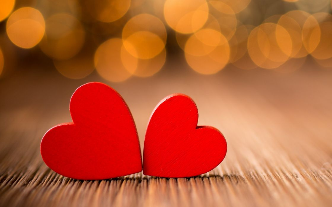 love red heart bokeh light wallpaper