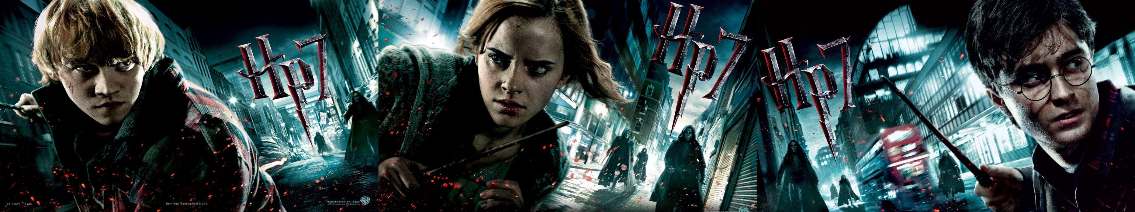 triple monitor multiple screen multi Harry Potter Hermione Granger Ron Weasley Daniel Radcliffe Rupert Grint Emma Watson wallpaper
