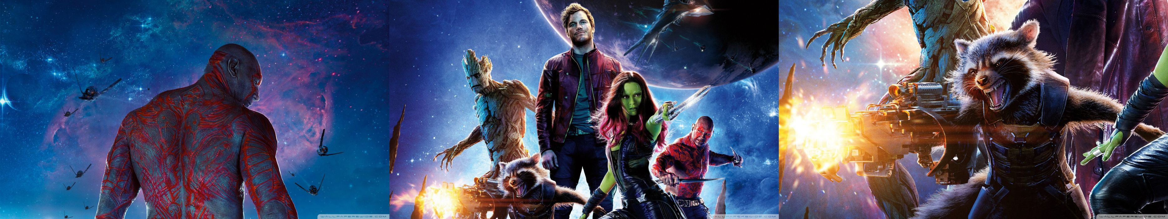 "triple monitor multiple screen multi gardiens de la galaxie Guardians of the Galaxy Christopher Michael ""Chris"" Pratt Star Lord Zoe Saldana Gamora David Michael Bautista Batisda Drax le destructeur destroyer Bradley Cooper Rocket Raccoon Mark Vi wallpaper"