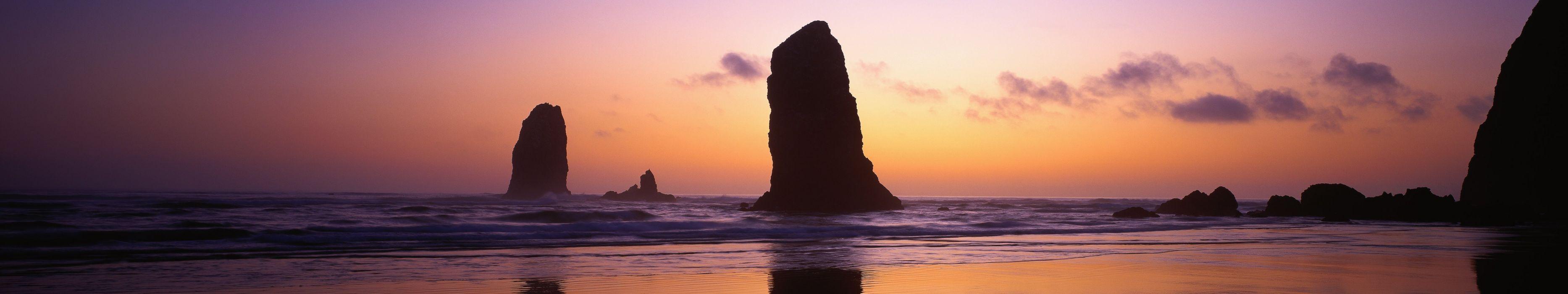 triple monitor multi screen multiple rock roche rocher coucher de soleil sunset plage beach wallpaper