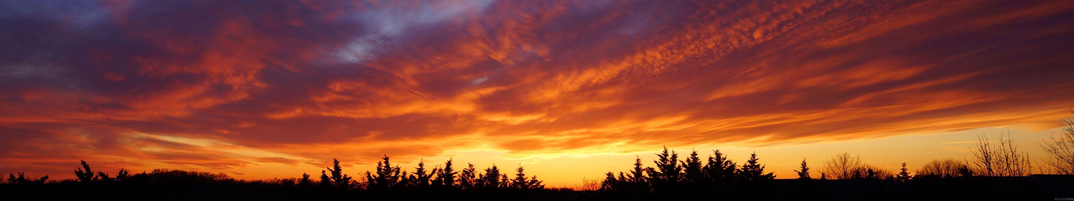 triple monitor multi screen multiple sunset sunrisem coucher lever de soleil wallpaper