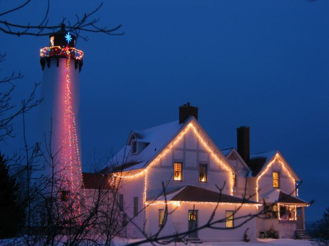 CHRISTMAS holiday lighthouse winter wallpaper