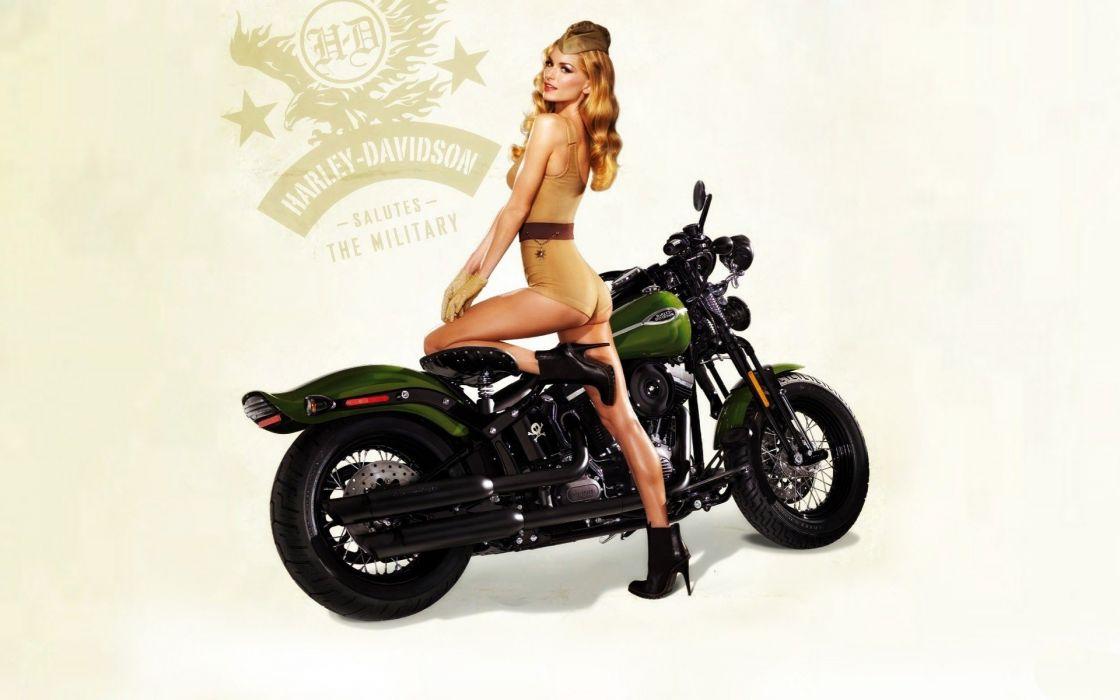 WOMEN AND MACHINES - blonde motorbike vintage pinup harley davidson military girl wallpaper
