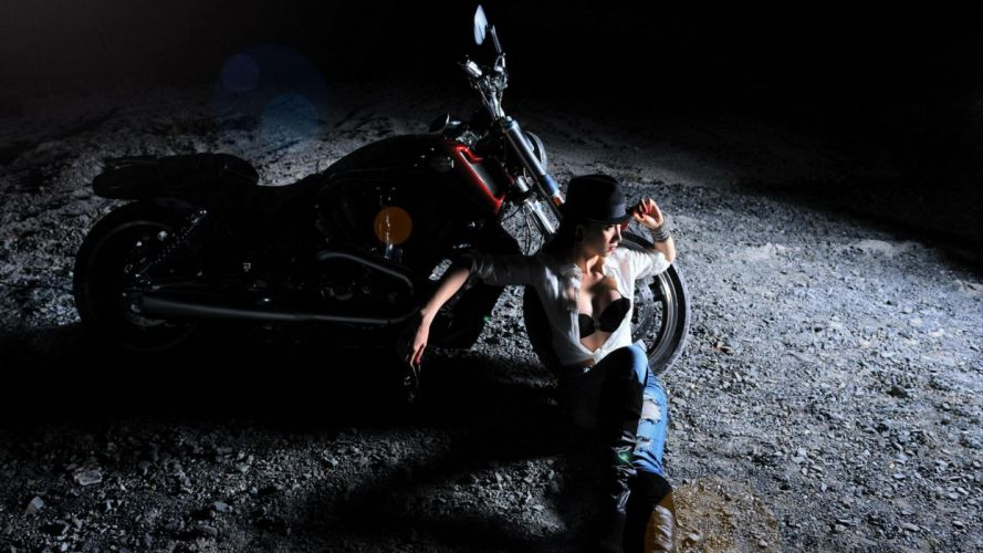 WOMEN AND MACHINES - motorcycle jeans hat girl night wallpaper