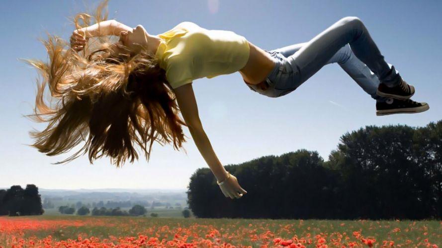 FLOATING GIRL - jeans brunette women flowers fields sunlight tshirts wallpaper