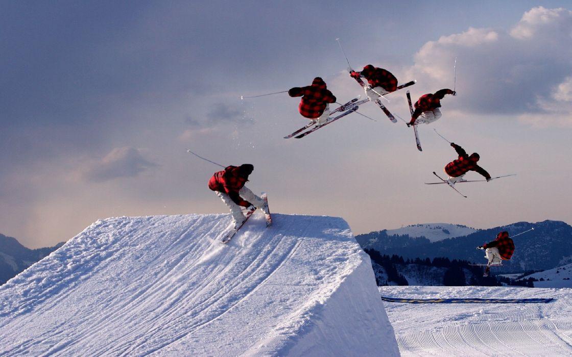 SKIING winter snow ski mountains wallpaper