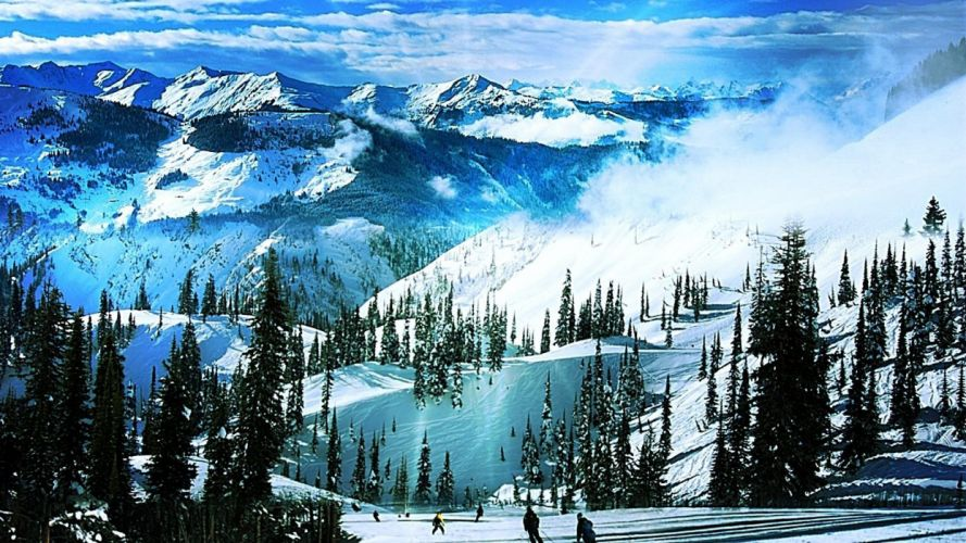 SKIING winter snow ski mountains wallpaper