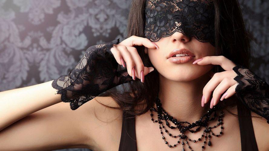BLINDFOLDS - lips brunette women gloves model wallpaper