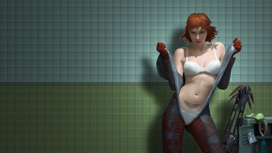 SENSUALITY - 3D fantasy tattoo girl redheads warriors guns lingerie wallpaper