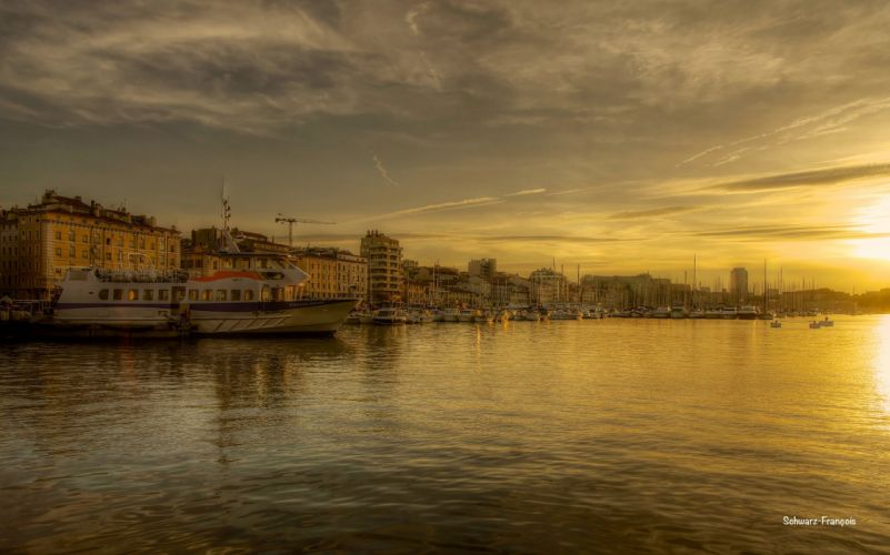 Marseille france provence 13 cities monuments panorama panoramic Urban architecture port sea vieux harbor wallpaper