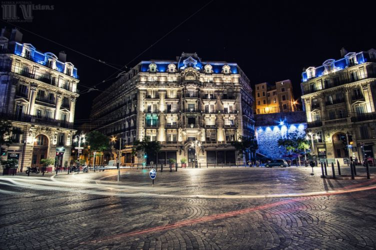architecture cities France marseille monuments panorama panoramic provence Urban night light wallpaper