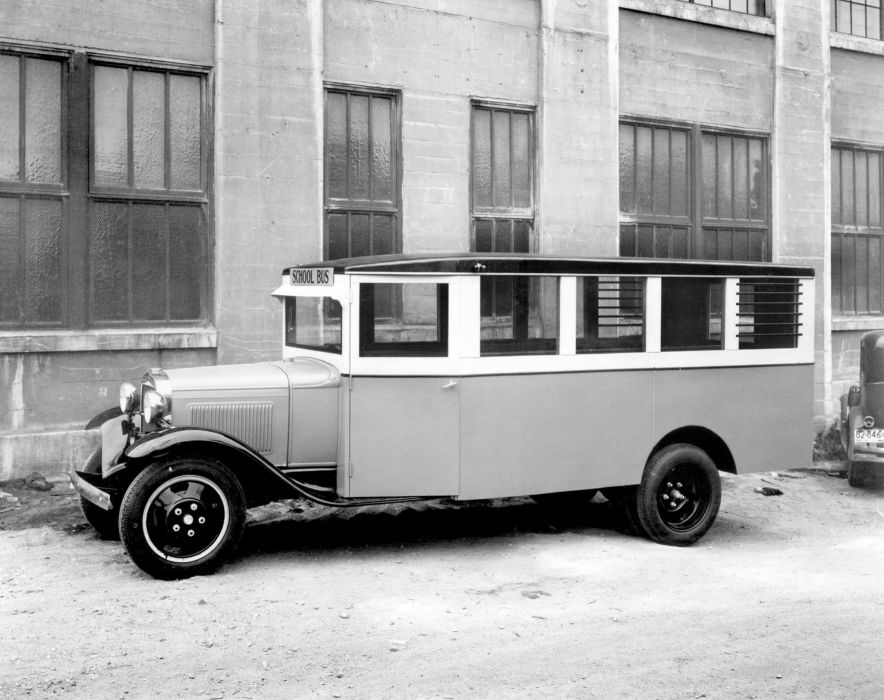 1930 Ford Model-AA School Bus Bowers Engineering Works retro transport wallpaper