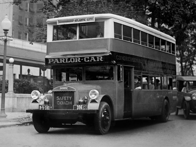 1921 Fageol Double Deck Safety Coach bus transport retro wallpaper