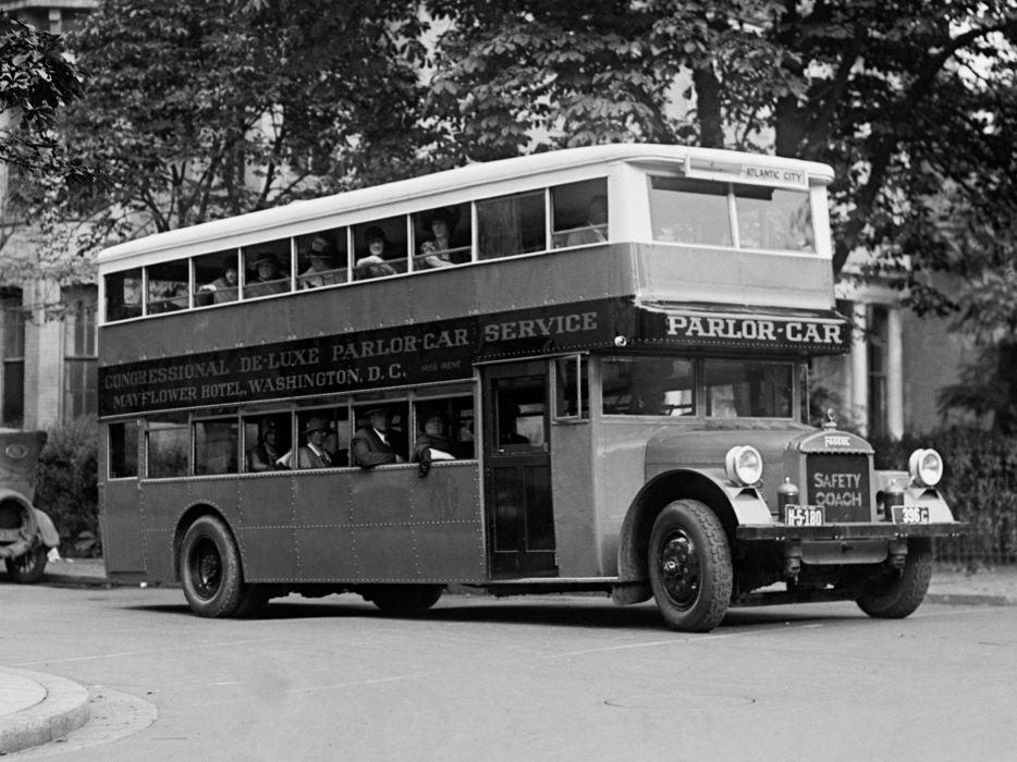 1921 Fageol Double Deck Safety Coach bus transport retro wallpaper
