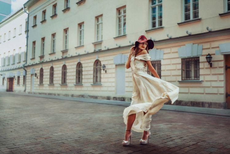 elegant lady white dress hat red street model woman wallpaper