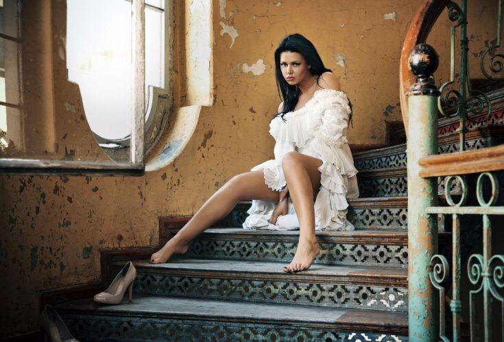 Dress White Brunette sitting stairs wallpaper