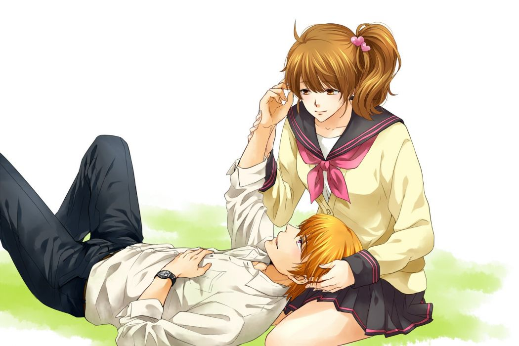 Brothers Conflict anime series girl guy blonde couple wallpaper