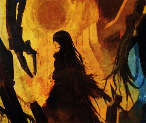 black hair long hair anime girl dress wallpaper