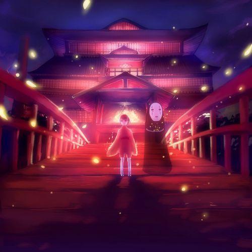 anime couple light girl red wallpaper