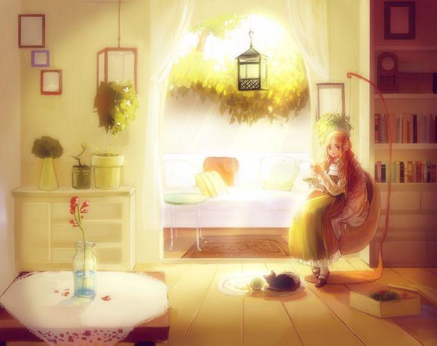 room book girl window sunlight cat anime flower wallpaper
