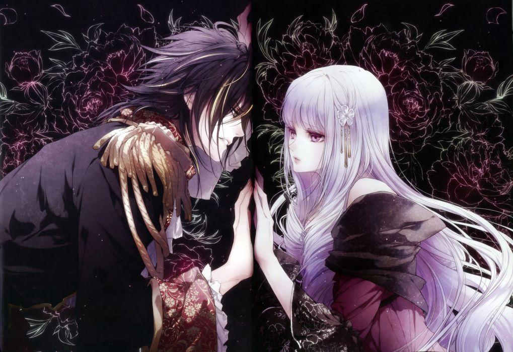 Reine des Fleurs series anime couple girl guy love wallpaper