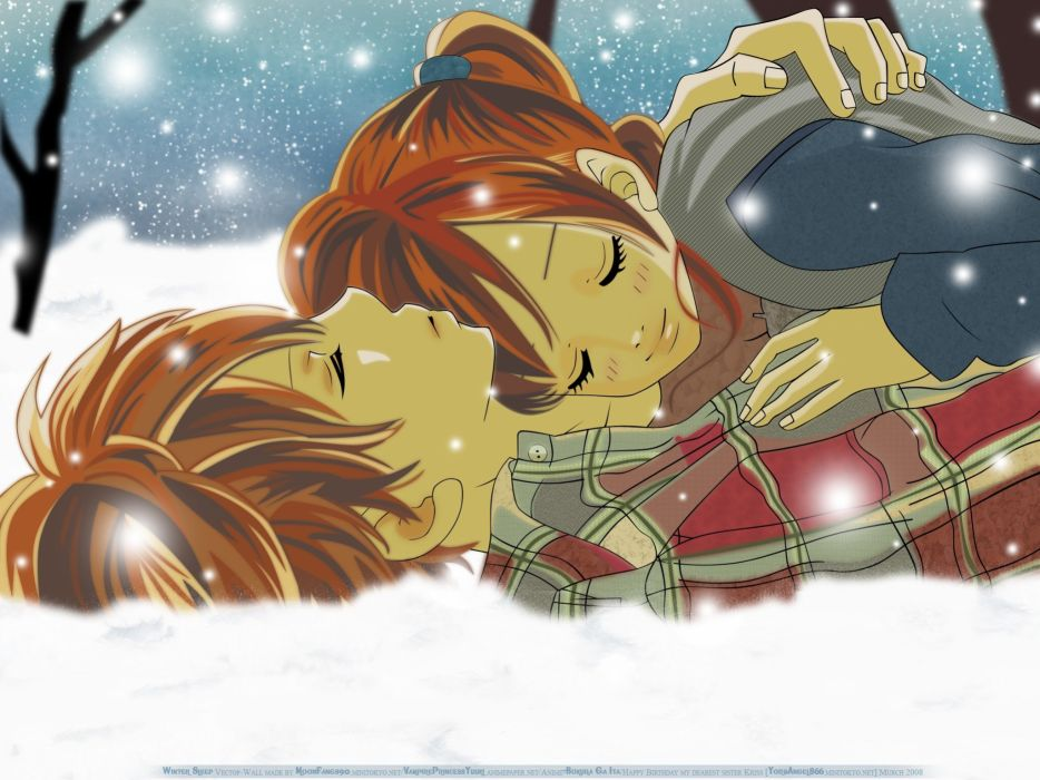 Bokura ga Ita Series Motoharu Yano Character romance couple snow winter wallpaper