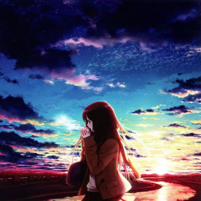sky girl clouds anime blue sunset cool wallpaper