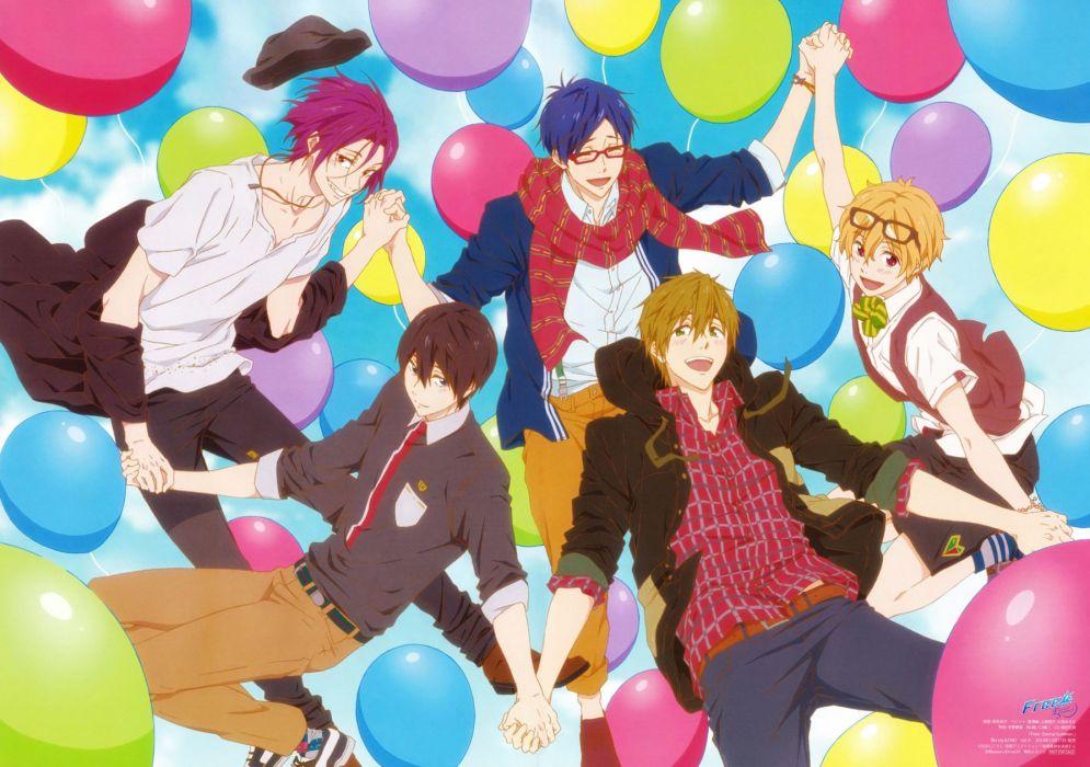 Free! Series Nagisa Hazuki Character Makoto Tachibana Character balloons color group wallpaper