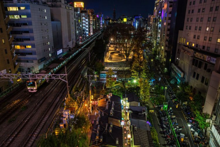 japan japon architecture bridges freeway building cities monuments Night panorama panoramic rivers tower towers tokyo ray light rail train wallpaper