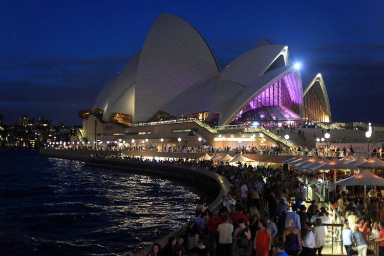architecture bridges building hotel cities way Sydney opera Light monuments Night panorama panoramic ray sea tasmanie tasmania australia australie tower towers wallpaper