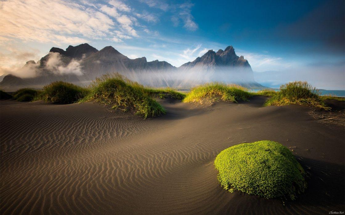 desert gunes beach sand grass fog ocean sea wallpaper