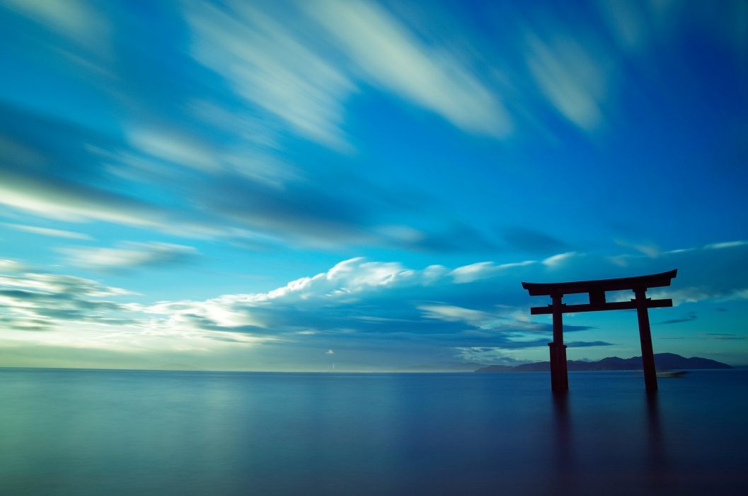 Japan landscape nature sky sea clouds water monument wallpaper