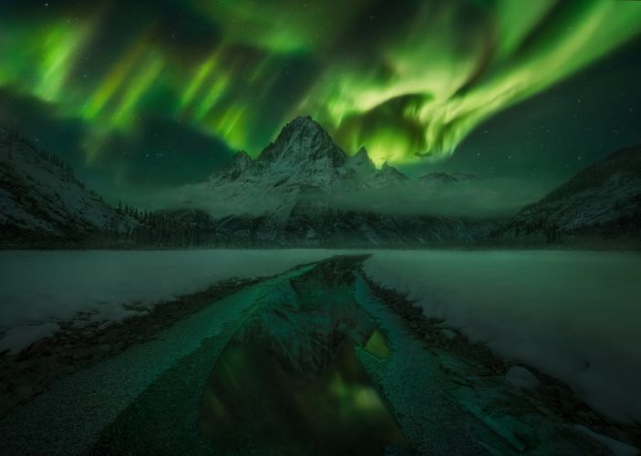 northern lights mountains night Canada sun solar flare sky wallpaper