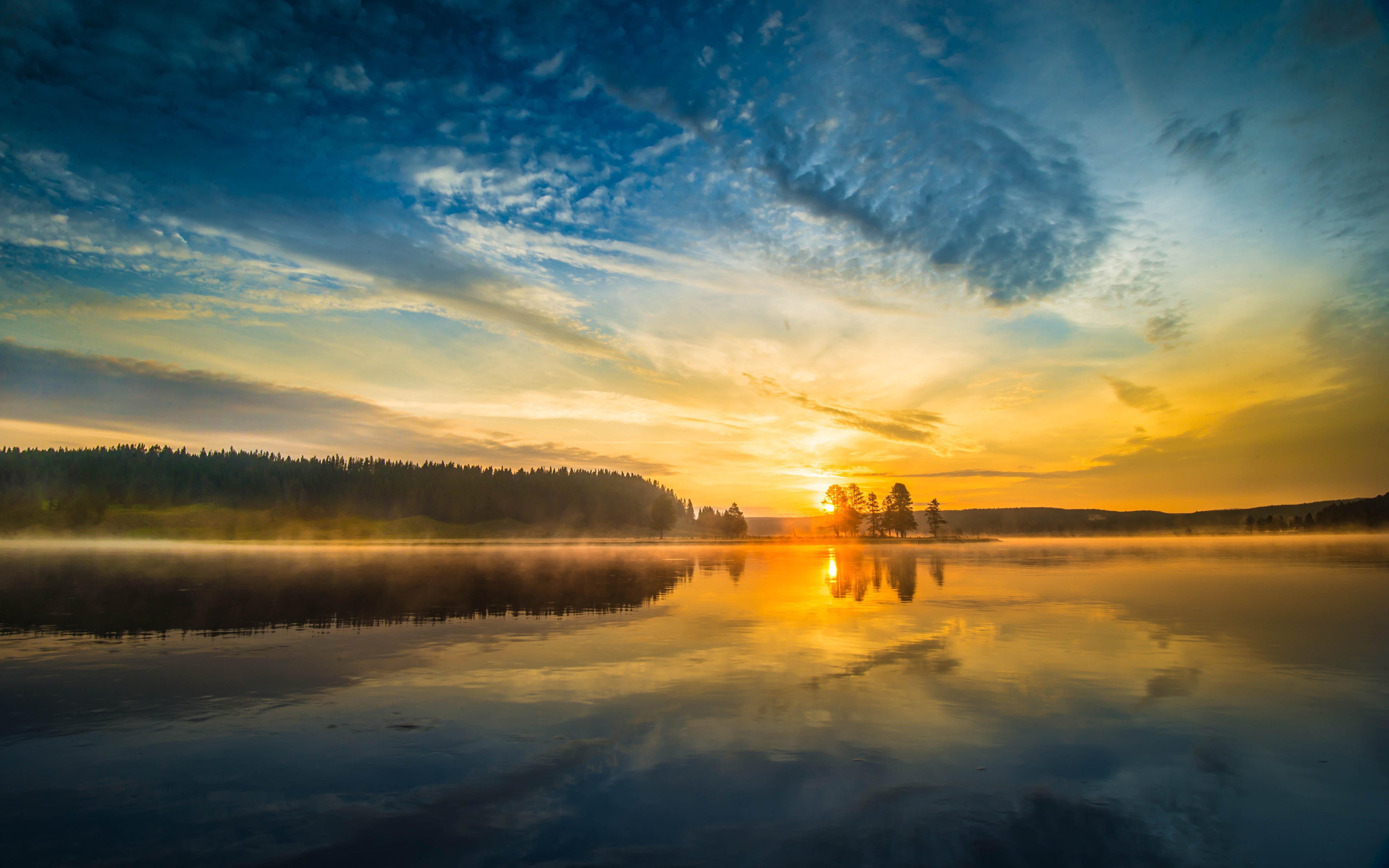National Park Yellowstone Lake Sunset Reflection Wallpaper