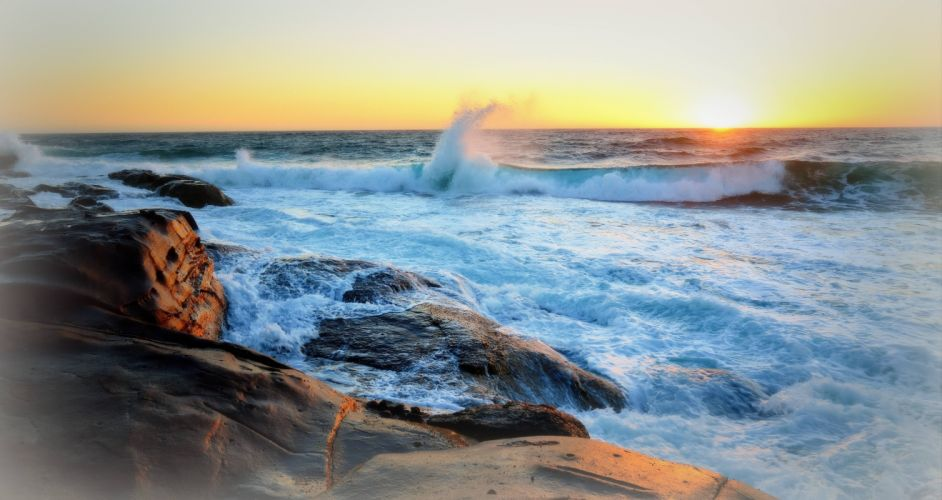sunset sea rocks waves landscape wallpaper