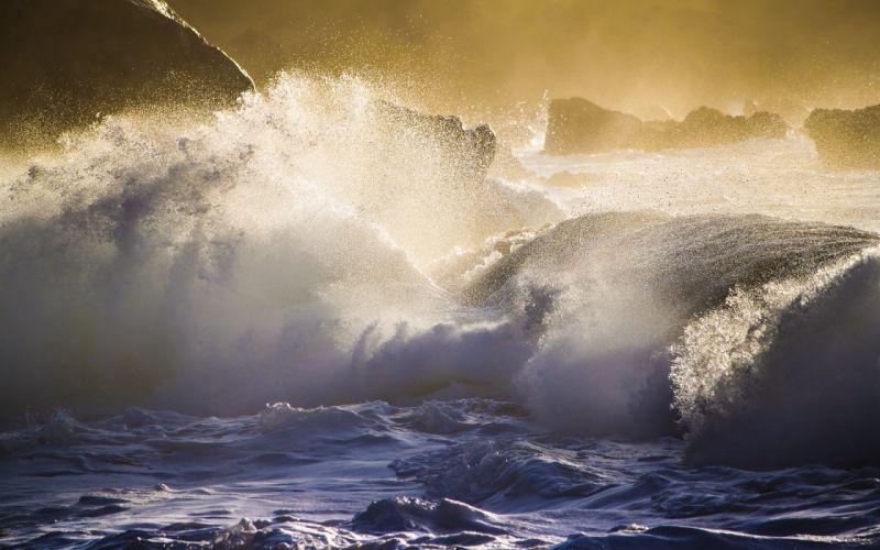Oahu Hawaii the Pacific Ocean rocks waves splash spray wallpaper