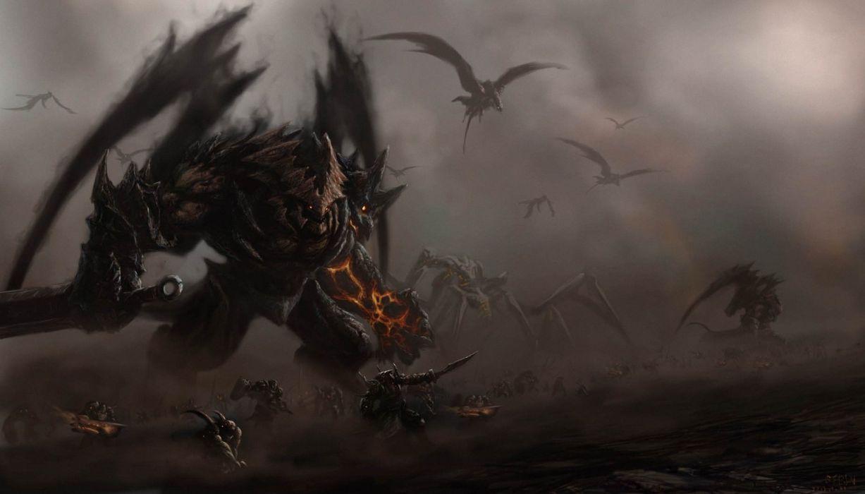Army Sword Monster Art Dark Dragon Battle Wallpaper 1920x1095