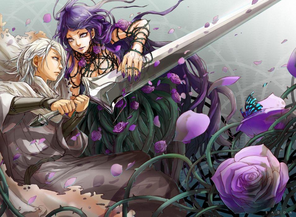 Battle Supernatural beings Warrior Roses Sword Fantasy Flowers wallpaper