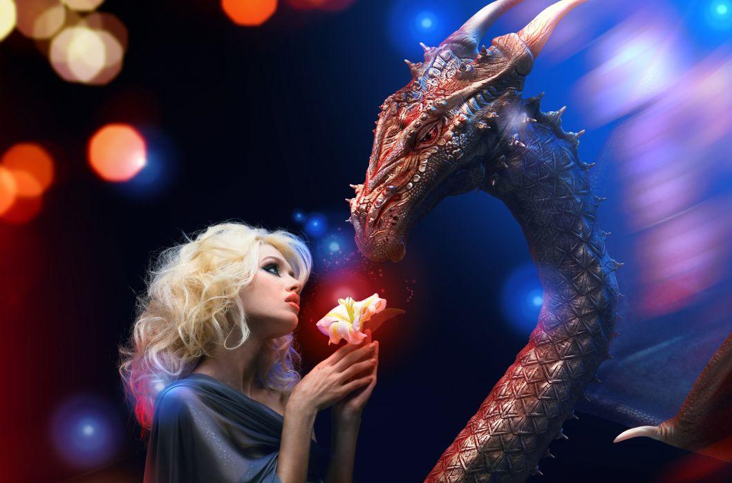 Dragon Blonde girl Fantasy Girls wallpaper