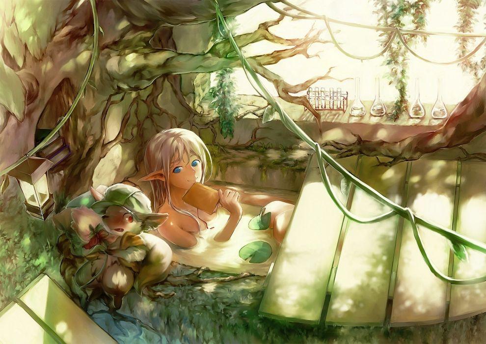 Elves Magical animals Sen Kawa original Anime Fantasy elf wallpaper