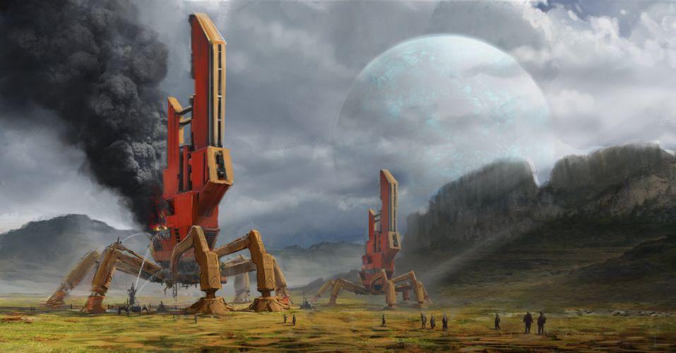 Fantastic world Technics Planet Fantasy Space moon spaceship art artwork wallpaper