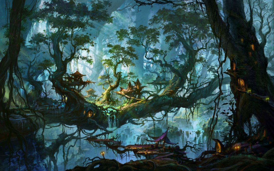 fantastic world trees fantasy nature city art artwork forest house