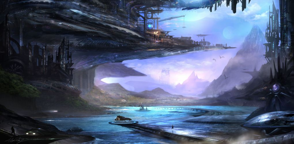 future the sky mountains rivers trees Science Fiction Fantasy spaceship futuristic wallpaper