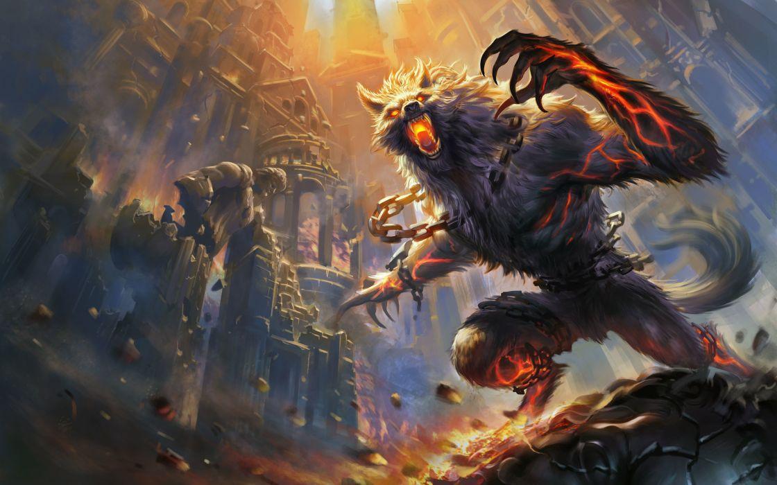 Monster Magic Smite Games Fantasy werewolf demon dark wallpaper